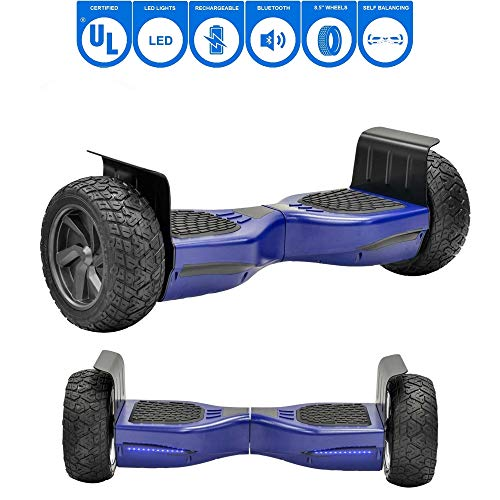 NHT Hoverboard - All Terrain Rugged 8.5 Inch Wheels Off-Road Electric Smart Self Balancing Scooter with Built-in Bluetooth Speaker LED Lights - UL2272 Certified (107 Blue)