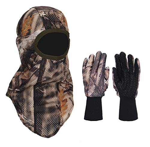 North Mountain Gear Hunting Camouflage Gloves and Face Mask Set - Soft - Quiet - Breathable Brown Woodland Camo