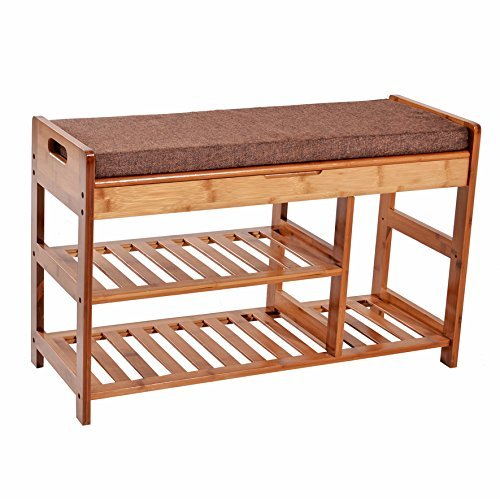 C&AHOME Extra Large Size Shoe Storage Bench Entryway Bamboo Rack Shelf Organizer with Cushion and Storage Drawer under Seat