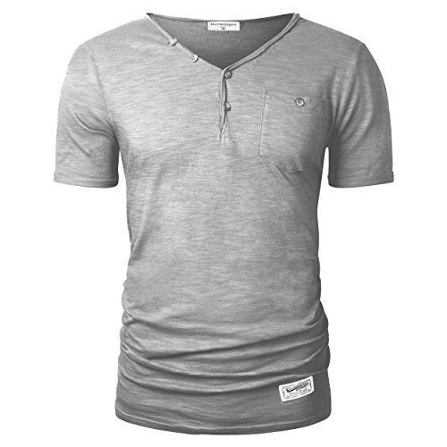 Bamboo Mens Short Sleeve Tee - Derminpro Men's Summer Slim Fit V-Neck Button Short Sleeve T-Shirts (Light Gray,L)