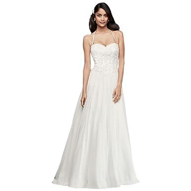 d86728b283c David s Bridal Basque-Waist Lace and Chiffon Wedding Dress Style WG3853 at Amazon  Women s Clothing store