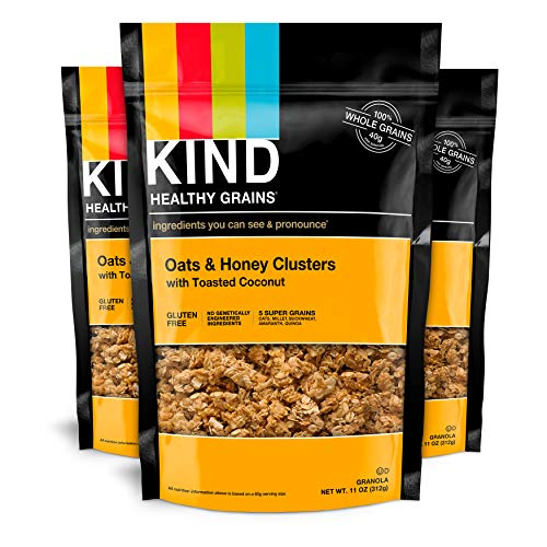 Kind Healthy Grains Clusters, Oats and Honey with Toasted Coconut Granola, Gluten Free, 11 Ounce Bags, 3 Count