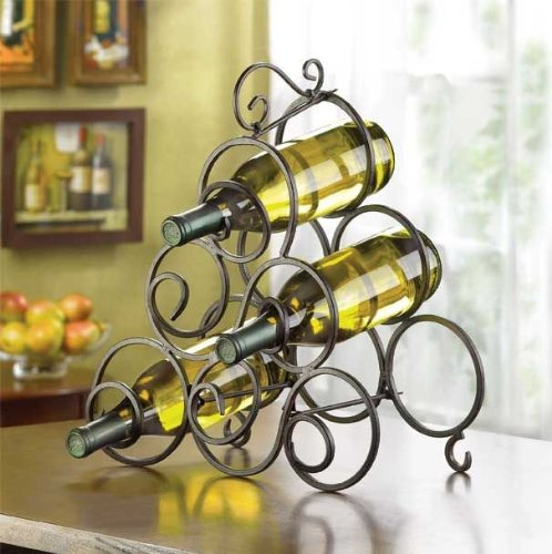 Iron Cart Wrought Metal - Wine Rack 6 Bottle Holder Oenophilia Metal Free Standing Countertop Metal Iron Stand Buffet Table Decorative Storage