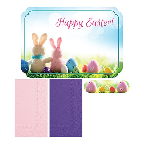 Hoffmaster 856783  Happy Easter  - Placemat and Napkin Combo Pack with Napkin Band, Disposable, (Each case has 250 Placemats, and 250 Napkins) (Pack of 750)