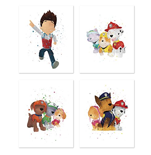 Paw Patrol Wall Art Posters - Set of 4 Prints for Kids - Chase - Skye - Marshall - Rubble - Zuma - Ryder - Inspired Home Decor - Cartoon Illustrations 8x10 for $<!--$22.99-->