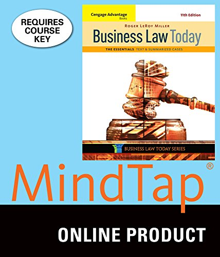 MindTap Business Law for Miller's Cengage Advantage Books: Business Law Today, The Essentials: Text and Summarized Cases, 11th Edition (Business Advantage Students compare prices)