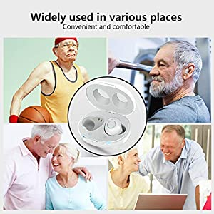 Hearing Amplifier Aid Rechargeable Digital Personal Sound Amplifier Devices ITE for Seniors,Inner-Ear Hearing aid,TV,2-Pack with Charging Box (White)