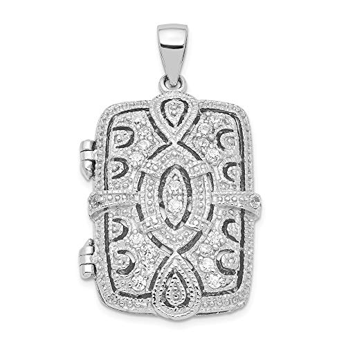 925 Sterling Silver Cubic Zirconia Cz Oval Design Square Locket Pendant Charm Necklace Shaped Fine Jewelry Gifts For Women For Her