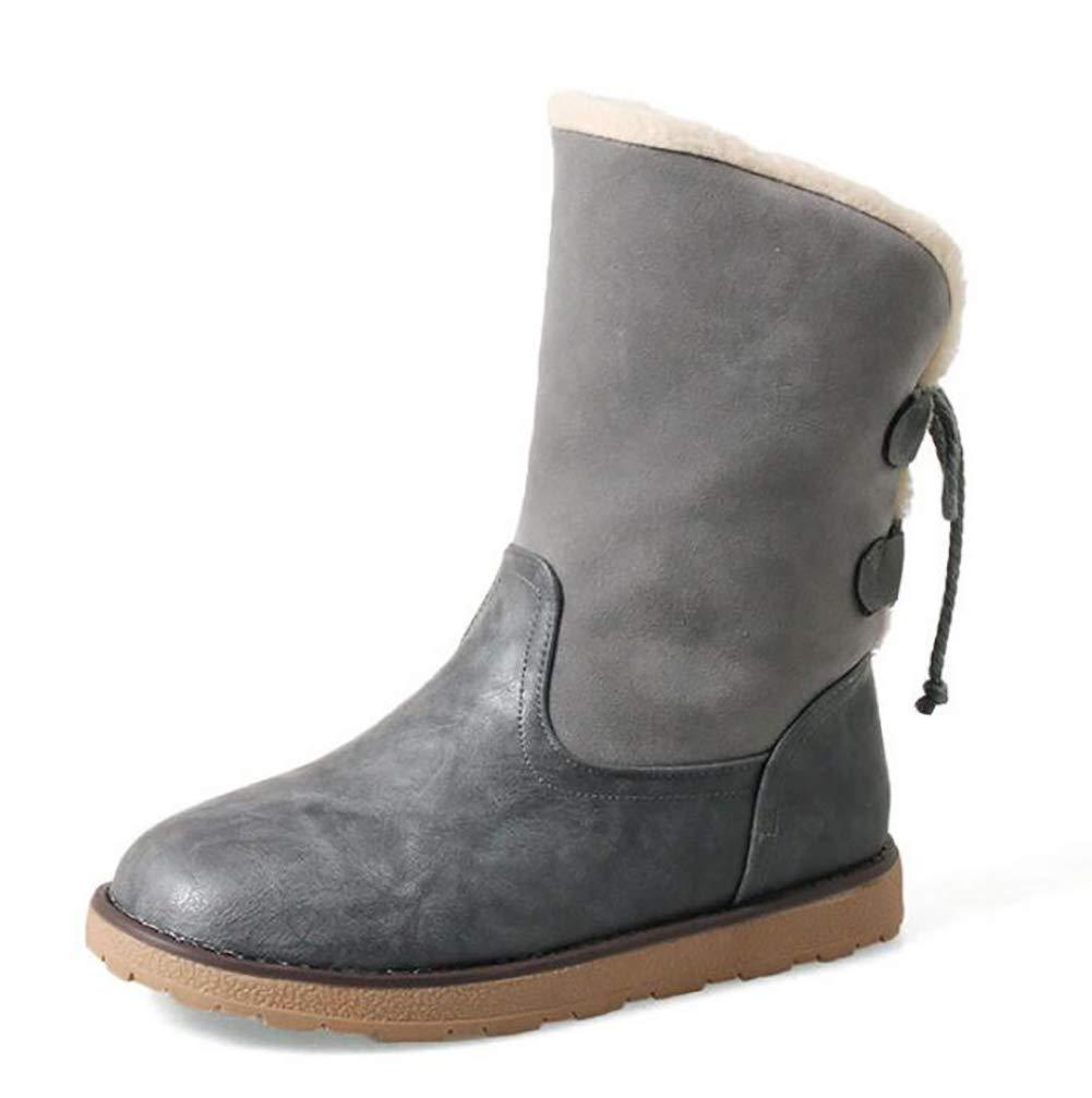 Fuxitoggo Damen Schneestiefel Winter Leder Vamp Warm Stiefel Stiefel Stiefel Rutschfeste, Abriebfeste Sohle Flache Schuhe,Apricot,38 (Farbe   Grau, Größe   42) 19aa8f