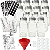 14 Large Glass Spice Jars w/2 Types of Preprinted Spice Labels. Premium Commercial Grade, Complete Set: Square Empty Jars 6oz, Airtight Cap Chalkboard & PVC Label Pour/Sift Shaker by Talented Kitchen