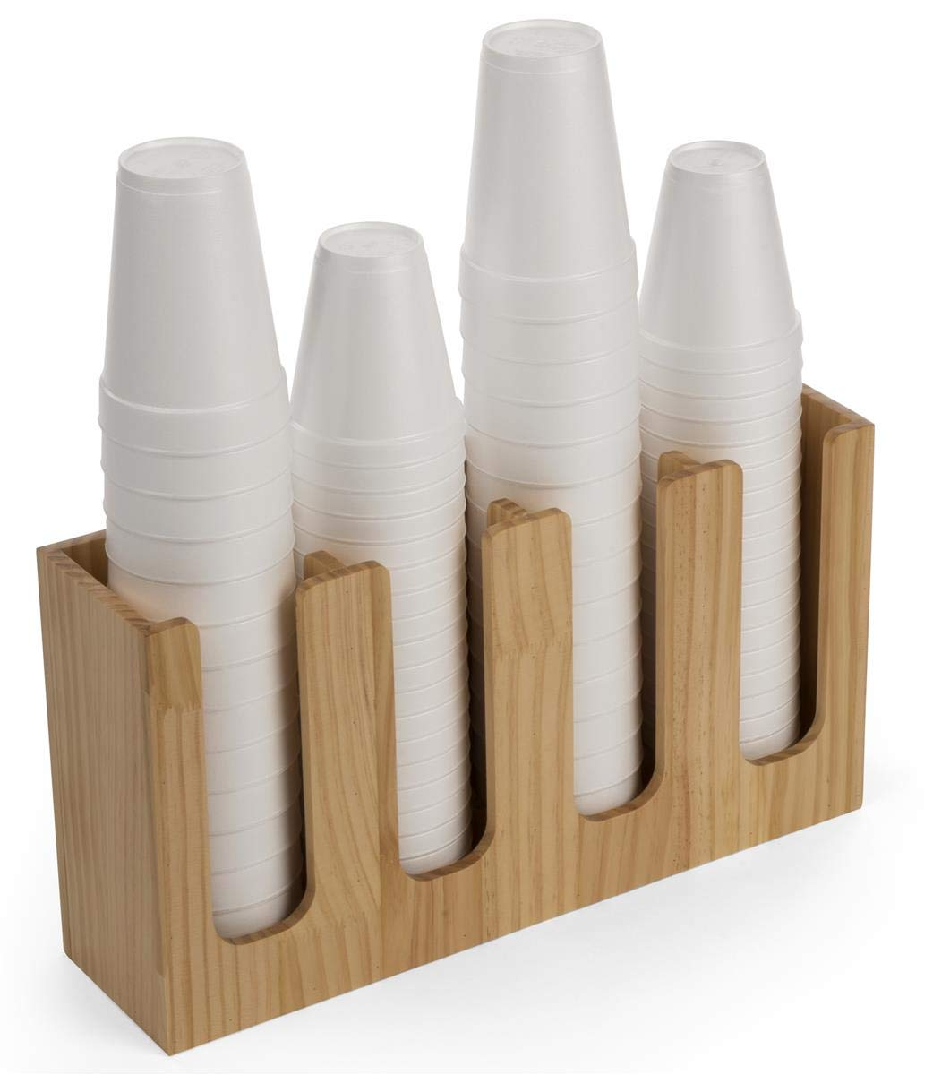 Displays2go Wood Coffee Cup and Lid Holders - Pine (FSWDCO4)