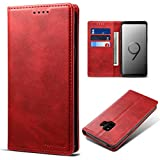 Galaxy S9 Leather Wallet Cell Phone Card Holder Case Kickstand Protective Folio Flip Red Cover