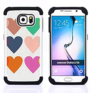 For Samsung Galaxy S6 G9200 - hearts love teal purple orange white Dual Layer caso de Shell HUELGA Impacto pata de cabra con im??genes gr??ficas Steam - Funny Shop -
