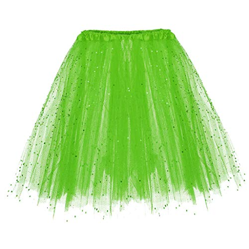 Colmkley Sequins 3 Layers Pleated Above Knee Tutu Skirt for Women Party Dance ()