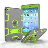 iPad Mini 4 Case,MAKEIT [Kickstand Feature],Shock-Absorption / High Impact Resistant Armor Defender Case For iPad Mini 4(Gray/Fluorescent green)