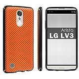 lg 3 bumper - Gummy Gel TPU For LG [Phoenix 3] [Fortune] [Aristo] [LV3] [LG K8 2017] [Black] Total Shock Absorption Bumper Slim-Fit Flexible TPU [Screen Protector]- [CarbonFiber Print Orange] Print Design
