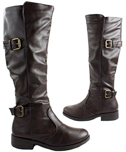 Bamboo Womens Jagger-15A Faux Leatherette Mid Calf Boots with Straps Brown