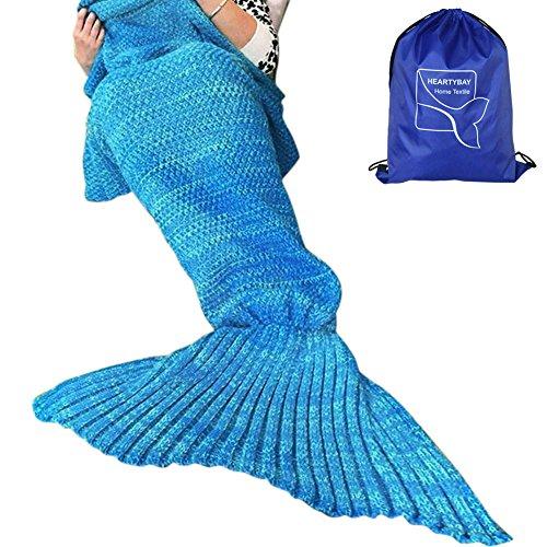 Heartybay Crochet Mermaid Tail Blanket for Adult, Super Soft All Seasons Sleeping Mermaid Blanket (71