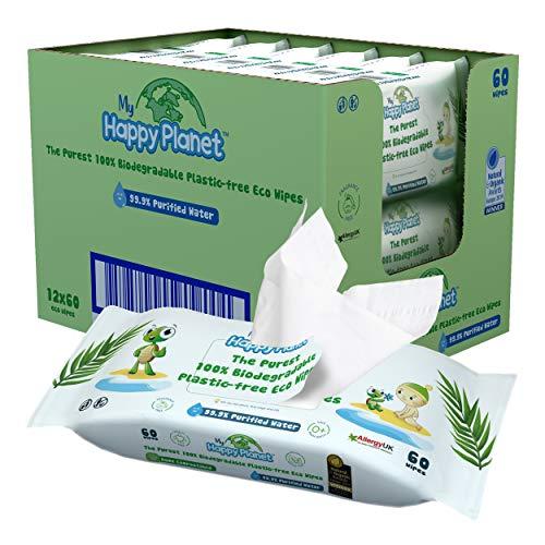 My Happy Planet Toallitas húmedas para bebés 100% biodegradables, sin plástico – 99.9% de agua purificada – Sin…