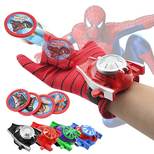Kids Spider-Man Cosplay Costume Spider-Man Gloves Spider-Man Batman Superman Launcher Toy Launcher Easter Gift Party Cosplay Gloves Launcher for Kids -