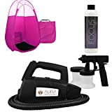 Easy Home Spray Tanning Kit with Aura Tan Machine Focus Solution and Pink Tent