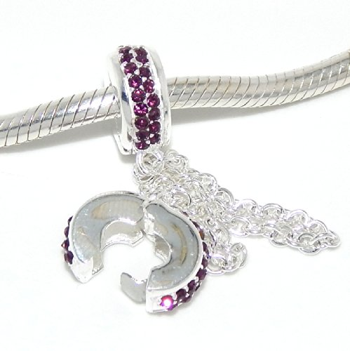Solid Sterling Silver .925 Safety Chain Clip Lock Charm Bead for Snake Chain Charm Bracelets
