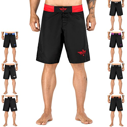 Red Mma Fight Shorts (Elite Sports NEW ITEM Black Jack Series Fight Shorts,Red,Large)