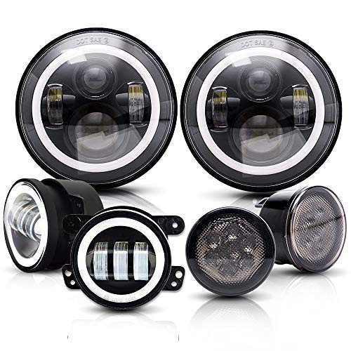 SPEAD-VMALL DOT Approved Angel Eye 7Inch Round LED 2007-2017 Jeep Wrangler JK JKU Headlights With DRL Amber Turn Singal Hi/Lo Beam + 4 Halo Fog Lights + Amber Front LED Turn Signal Light Assemblies