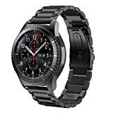 Gear S3 Frontier / Classic Watch Band, V-Moro 22mm Solid Stainless Steel Metal Business Replacement Bracelet Strap for Samsung Gear S3 Frontier / S3 Classic Sports Smart Watch Fitness (Metal Black)