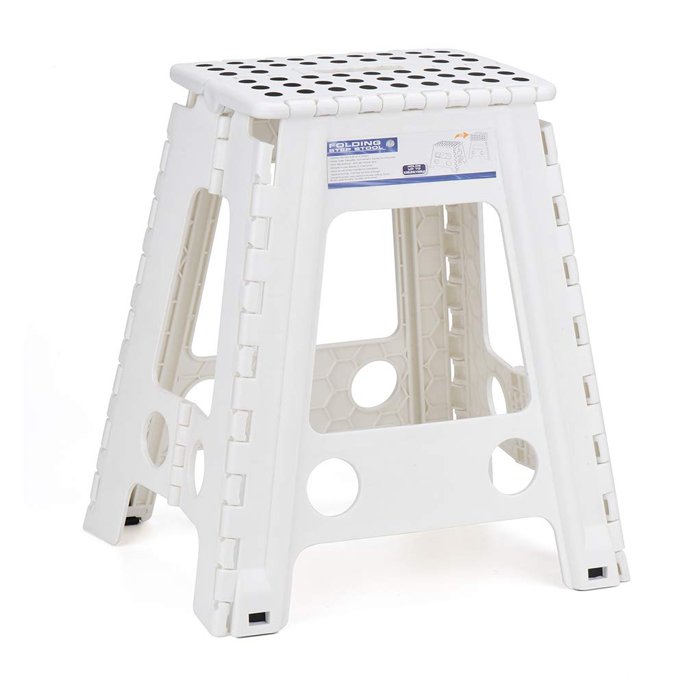 Acko White 18 Inches Non Slip Folding Step Stool for Kids and Adults with Handle