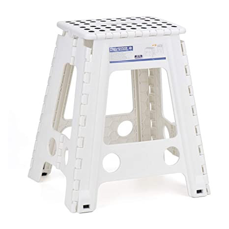Miraculous Acko White 18 Inches Non Slip Folding Step Stool For Kids And Adults With Handle Frankydiablos Diy Chair Ideas Frankydiabloscom