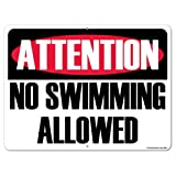 VictoryStore Yard Sign Outdoor Lawn Decorations: Attention No Swimming Allowed Aluminum Sign, Size 18 inch x 24 inch