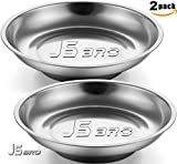 Pack of Two JSbro 6'' Parts Trays Steel Heavy Duty Round Magnetic