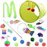 21 Pcs Cat Toys with 1 Way Tunnel Ball Mice Fish Snake Interactive Feather Teaser Oziral Cat Interactive Toys Set for Catnip Refill Cat Puppy Kitty Kitten Ferret Rabbit