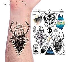 adgkitb 3 Piezas Geométrico León Árbol Luna Estrellas Tatuajes ...