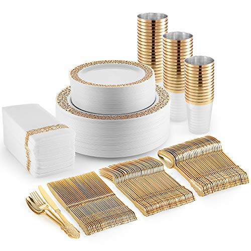 Gold Plastic Dinner Plates, Disposable Dessert Plates, 350 Plastic Dinnerware Set – Cups, Gold Silverware and Napkins…