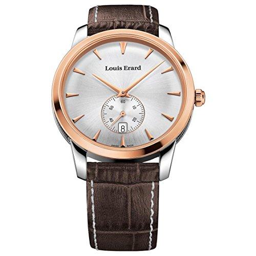 Louis Erard Men's Heritage 40mm Brown Leather Band Steel Case Quartz Analog Watch 16930AB11.BEP101