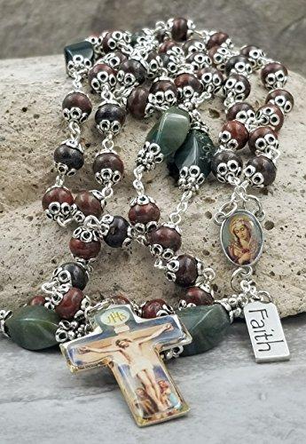(Easter Seven Sorrows Pieta Jesus on the Cross Red Jasper Handcrafted Ornate Gemstone Rosary)