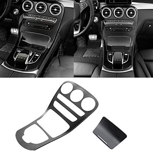 Xotic Tech for Mercedes Benz C Class Carbon Fiber Pattern Center Console Gear Shift Panel Cover Trim, Central Control Panel Frame Decorative Sticker Fit for Mercedes Benz C300 C63 CLA CLS 2015-2017