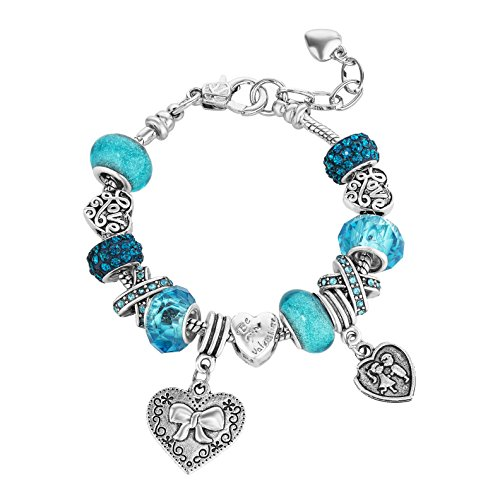Valentine Love Beaded Charm Bracelets for Teen Girls Women Gifts Adjustable Fits 6 - 8.5 inch (Blue Heart) (Adjustable Beaded Heart Necklace)