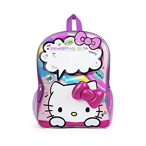 Hello Kitty Pink Rainbow Hashtag 3D Bow Backpack for Girls -