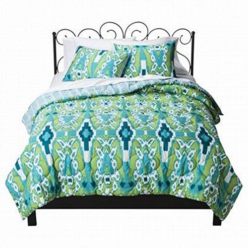 Xhilaration Twin XL Blue and Green Ikat Comforter & Sham Set