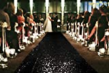 Sale Sequin Aisle Runner-Black-Wedding Sequin Carpet Aisle Runner-3FTX40FT Long Sequin Linens Wedding Decor (Black)
