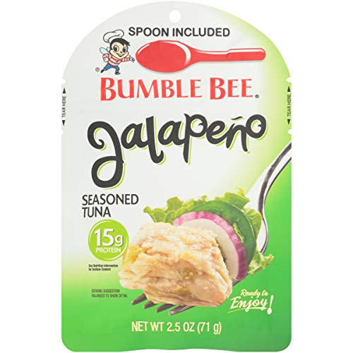 BUMBLE BEE Jalapeño Seasoned Tuna Pouch with Spoon, Wild Caught, High Protein Food, Gluten Free, High Protein Snacks, Bulk Snacks, 2.5 Ounce Pouches (Pack of 12)