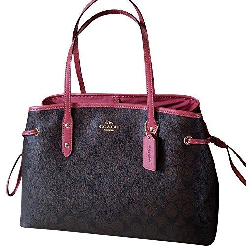 Drawstring Signature Handbag (Coach Signature Drawstring Carryall Shoulder Tote Bag F57842 In Brown / Rouge Pink)