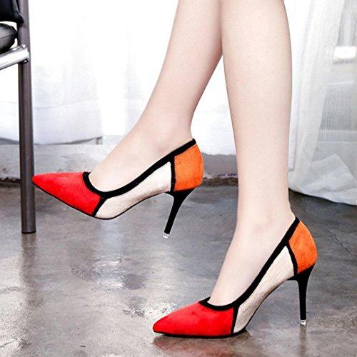 Hatop Pompes Chaussures, Femmes Printemps Casual Bout Pointu Chaussures Flock Patchwork Chaussures À Talons Hauts Rouges