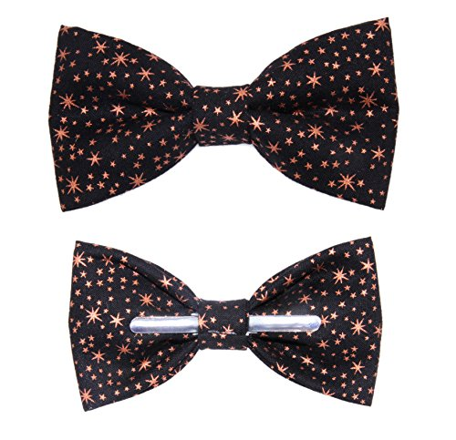 Toddler Boy 3T 4T Black With Copper Stars Clip On Cotton Bow Tie