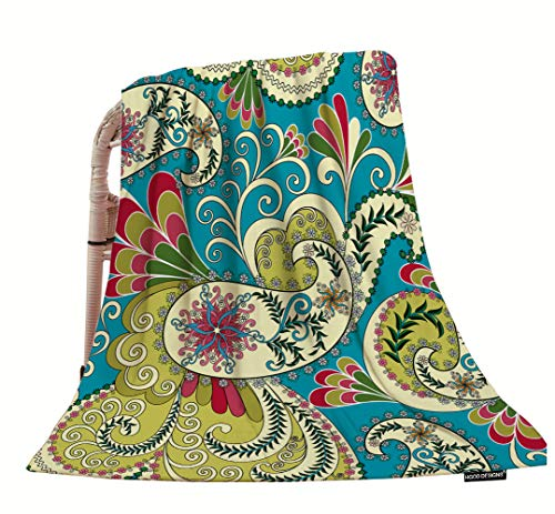 HGOD DESIGNS Light Yellow Paisley Throw Blanket,Paisley Decorated with Leaves and Flowers On A Light Green Background Soft Warm Decorative Throw Blankets for Adults Kids Women Men Girls Boys,40