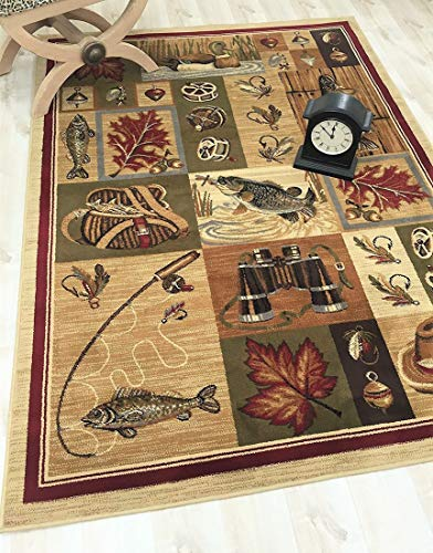 Fly Fishing Rug - Cabin Area Rug - Modern Geometric Design Cabin Area Rug - Abstract, Beige/Multicolor Design- Fishing Equipment/Hook/Fish/Duck