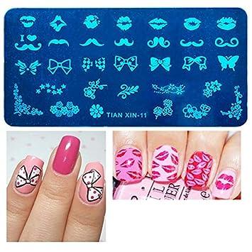 Amazon Com Nail Art 12x6cm 24 Designs Flower Animal Lip Beard